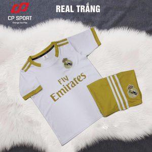 Áo bóng đá trẻ em CP CLB Real Madrid màu trắng năm 2020