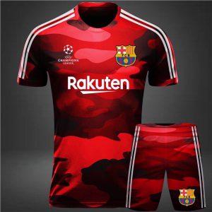 Áo bóng đá CLB Barca rằn ri xanh năm 2020