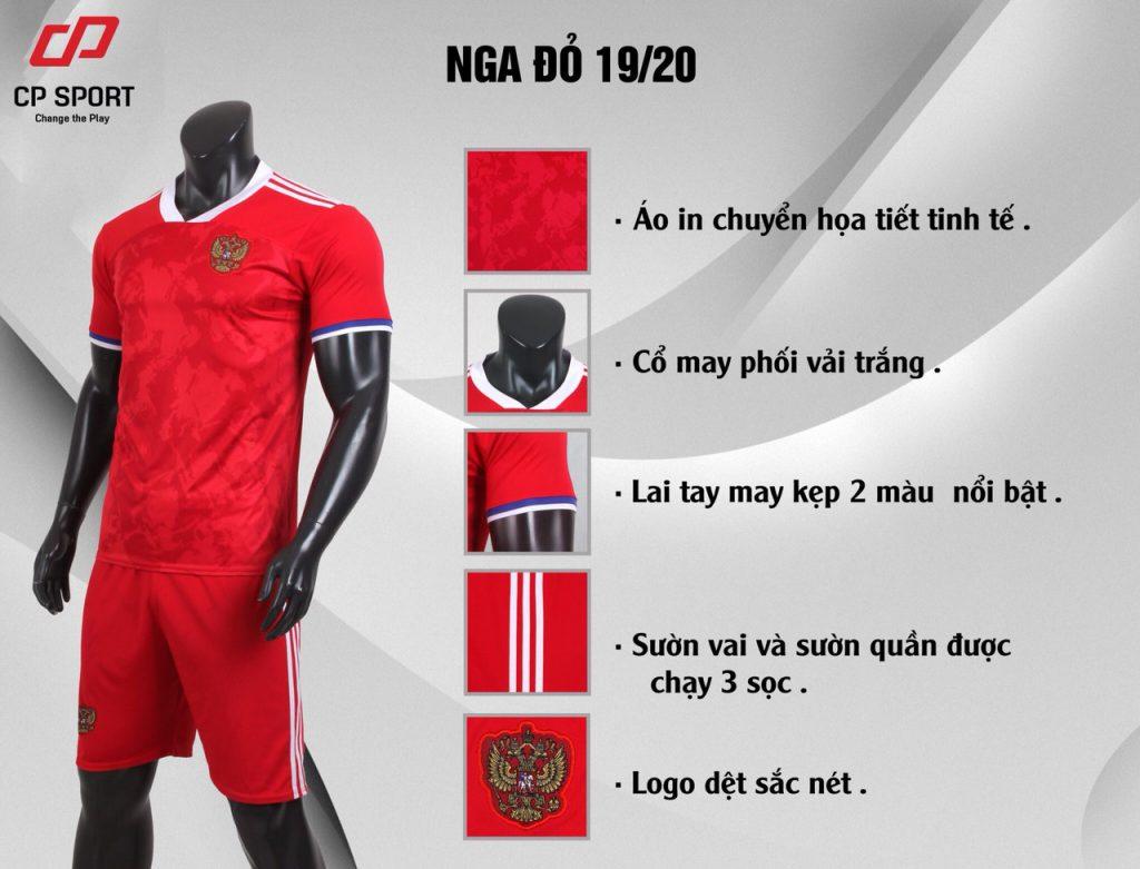 Áo bóng đá CP đội tuyển Nga màu đỏ năm 2020