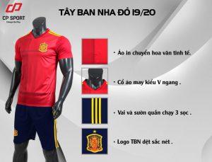 Áo bóng đá CP đội tuyển Tây Ban Nha màu đỏ năm 2020