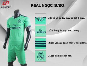 Áo bóng đá CP CLB Real Madrid màu xanh lá năm 2020