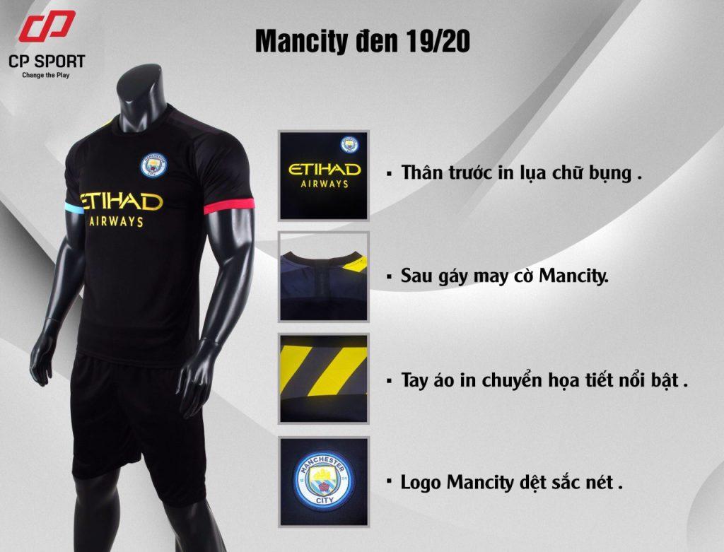 Áo bóng đá CP CLB Man City màu đen năm 2020