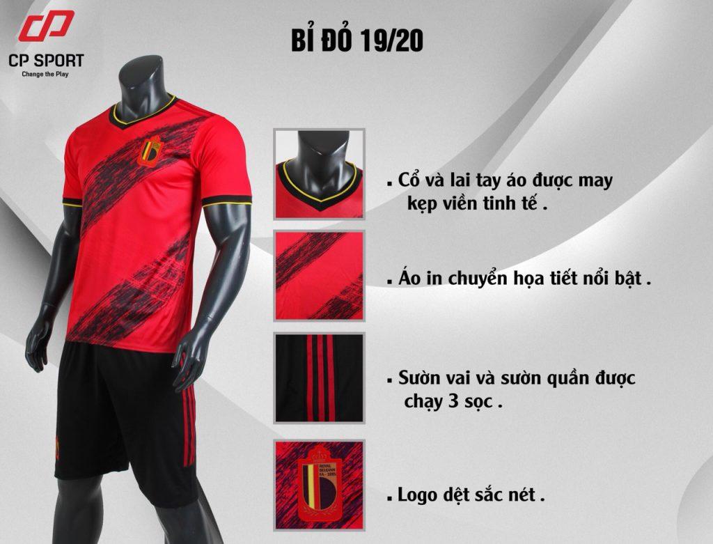 Áo bóng đá CP đội tuyển Bỉ màu đỏ năm 2020