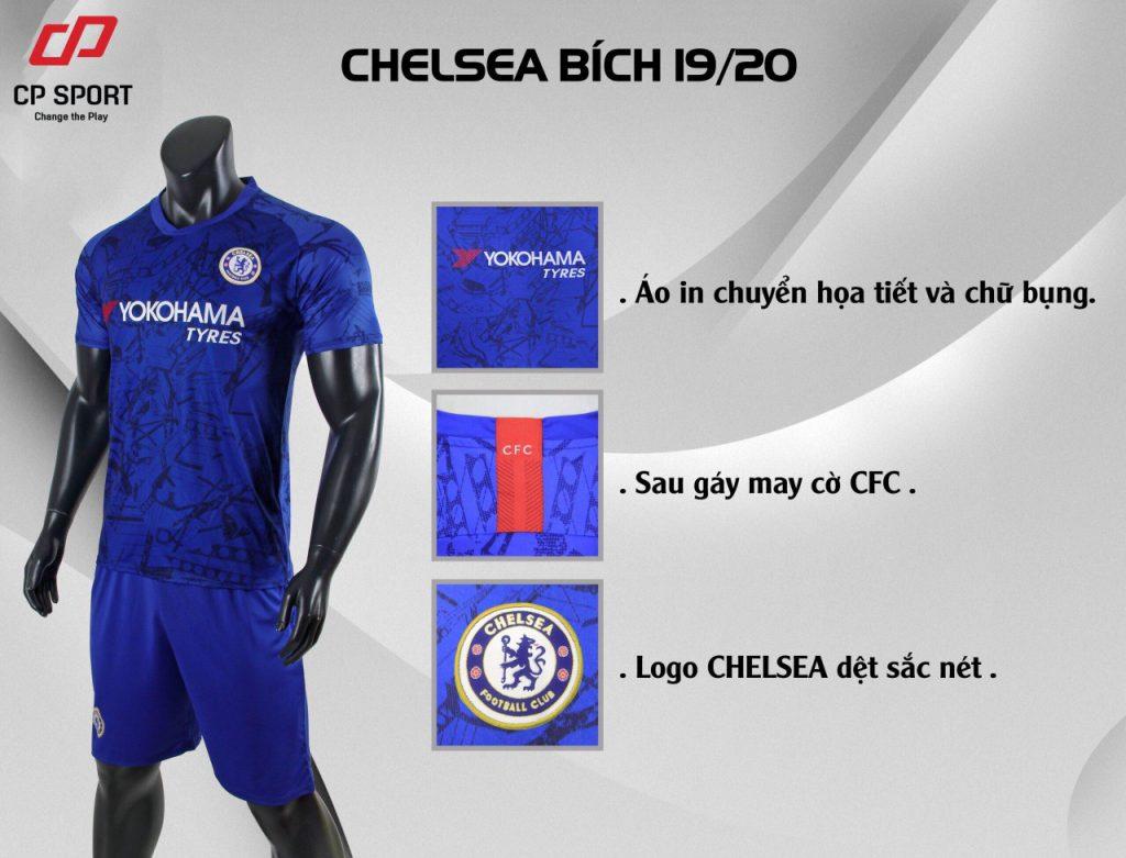 Áo bóng đá CP CLB Chelsea màu xanh vằn năm 2020
