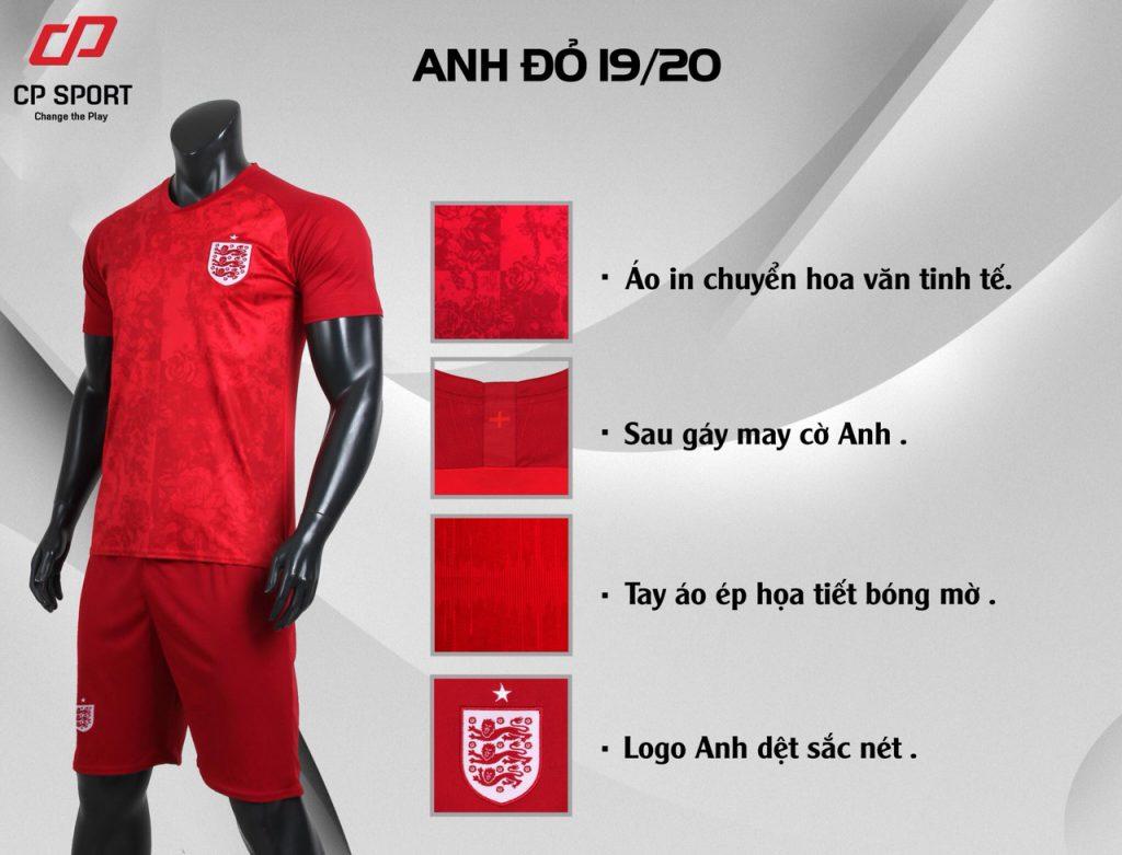 Áo bóng đá CP đội tuyển Anh màu đỏ năm 2020