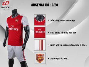 Áo bóng đá CP CLB Arsenal màu đỏ năm 2020