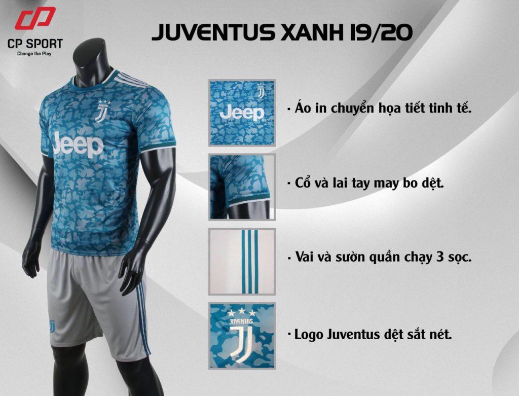 Áo bóng đá CP CLB Juventus màu xanh năm 2020