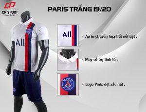 Áo bóng đá CP CLB Paris Saint Germain màu trắng năm 2020