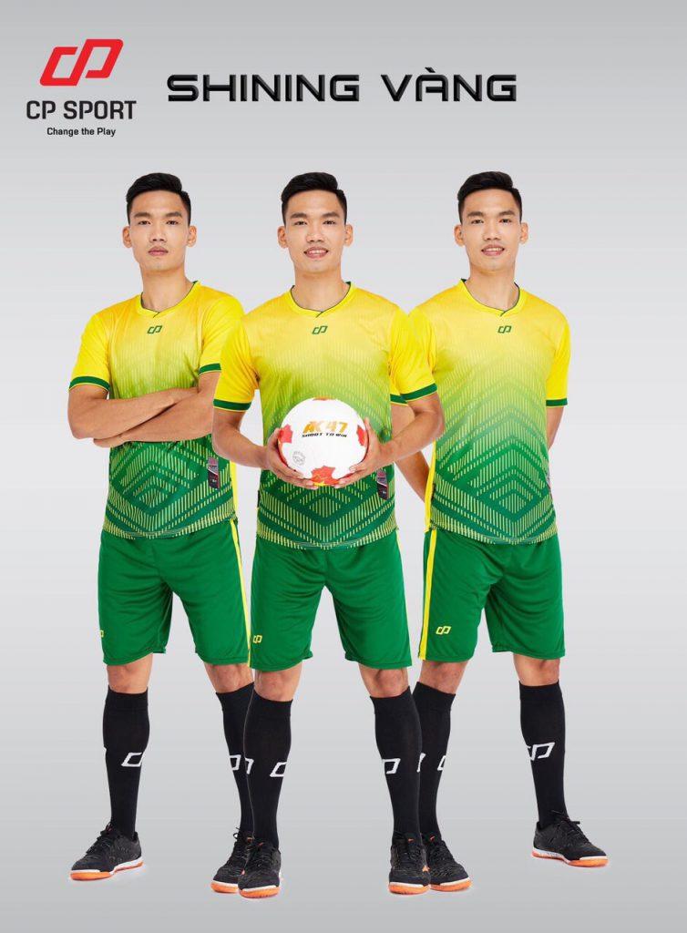 Áo bóng đá CP Shining màu vàng phối xanh năm 2020