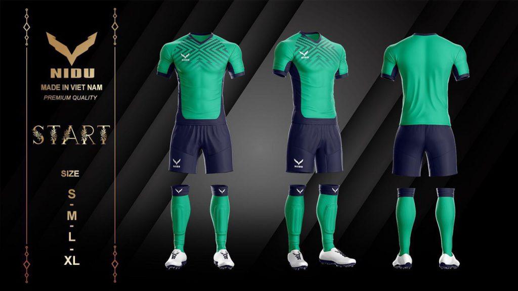 Áo bóng đá không logo NIDU màu xanh lá mới nhất 2020