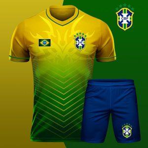 Áo bóng đá đọi tuyển Brasil màu vàng xanh mới nhất 2020