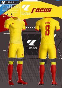 Áo bóng đá không logo Lidas Focus màu vàng năm 2020