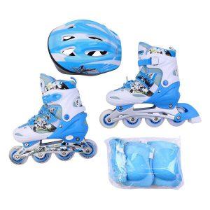 Giày trượt Patin mã 906 combo kèm mũ giáp màu xanh da trời