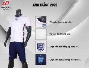 Áo bóng đá CP đội tuyển Anh màu trắng năm 2020
