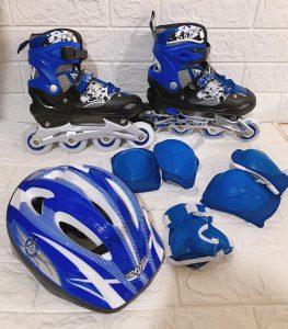 Giày trượt Patin mã 906 combo kèm mũ giáp màu xanh dương