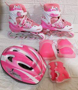 Giày trượt Patin mã 906 combo kèm mũ giáp màu hồng