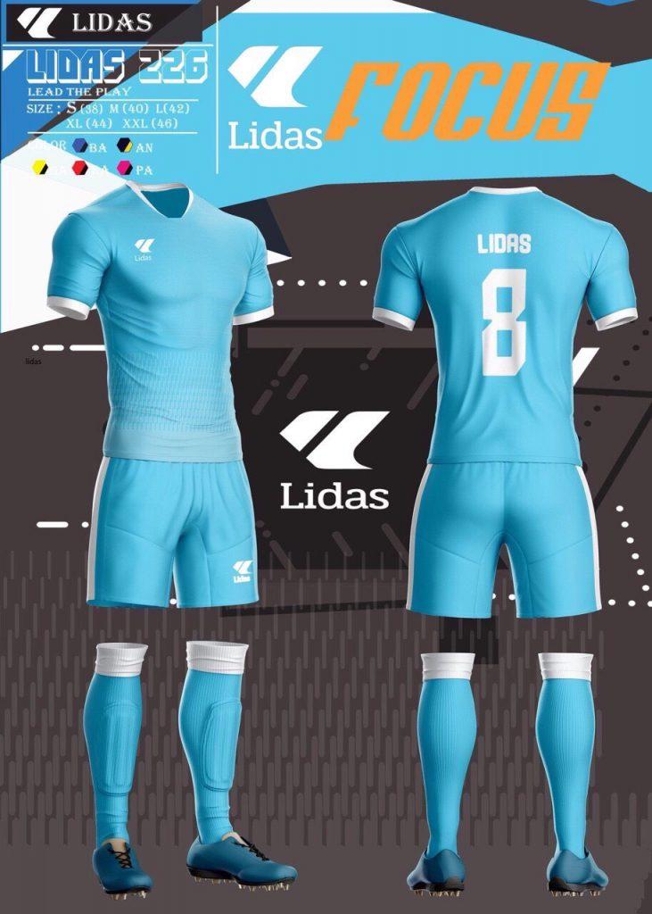 Áo bóng đá không logo Lidas Focus màu xanh da trời năm 2020