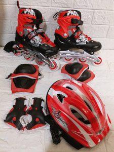 Giày trượt Patin mã 906 combo kèm mũ giáp màu xanh đỏ