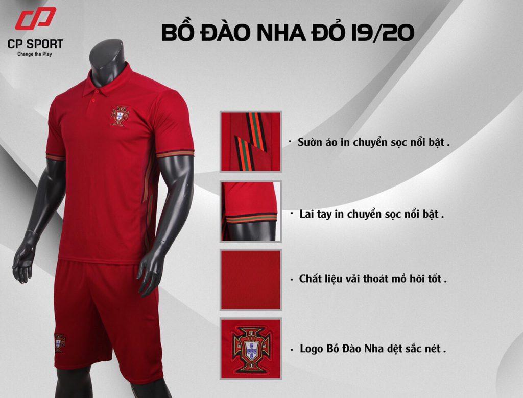 Áo bóng đá CP đội tuyển Bồ Đào Nha màu đỏ năm 2020