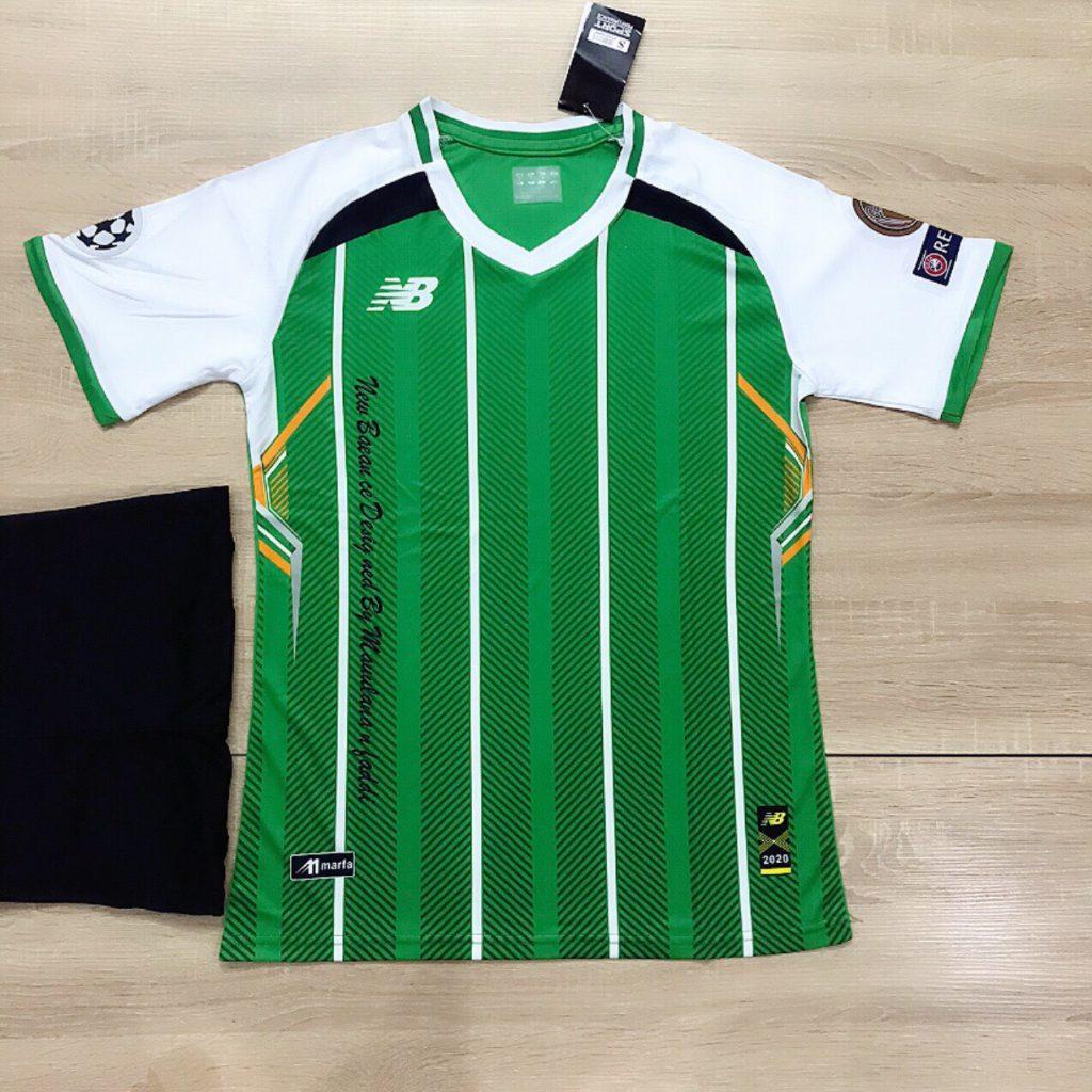 Áo bóng đá không logo NB5 màu xanh lá sọc trắng mới nhất 2020