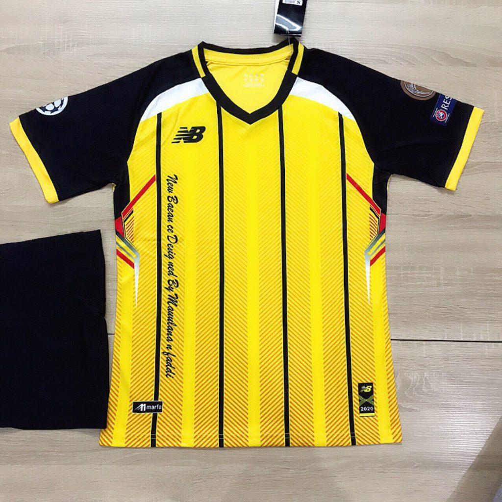 Áo bóng đá không logo NB5 màu vàng sọc đen mới nhất 2020