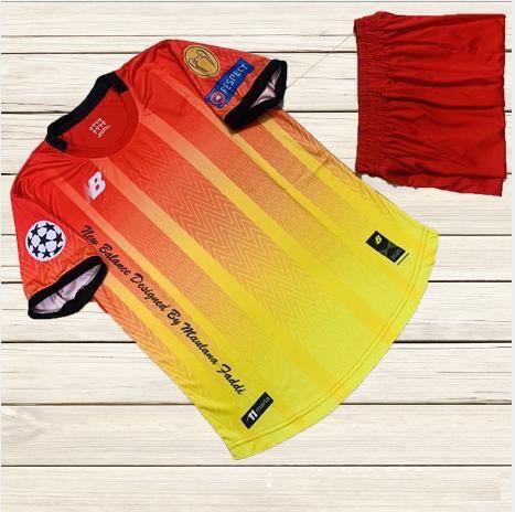Áo bóng đá không logo NB6 màu cam phối đỏ mới nhất 2020