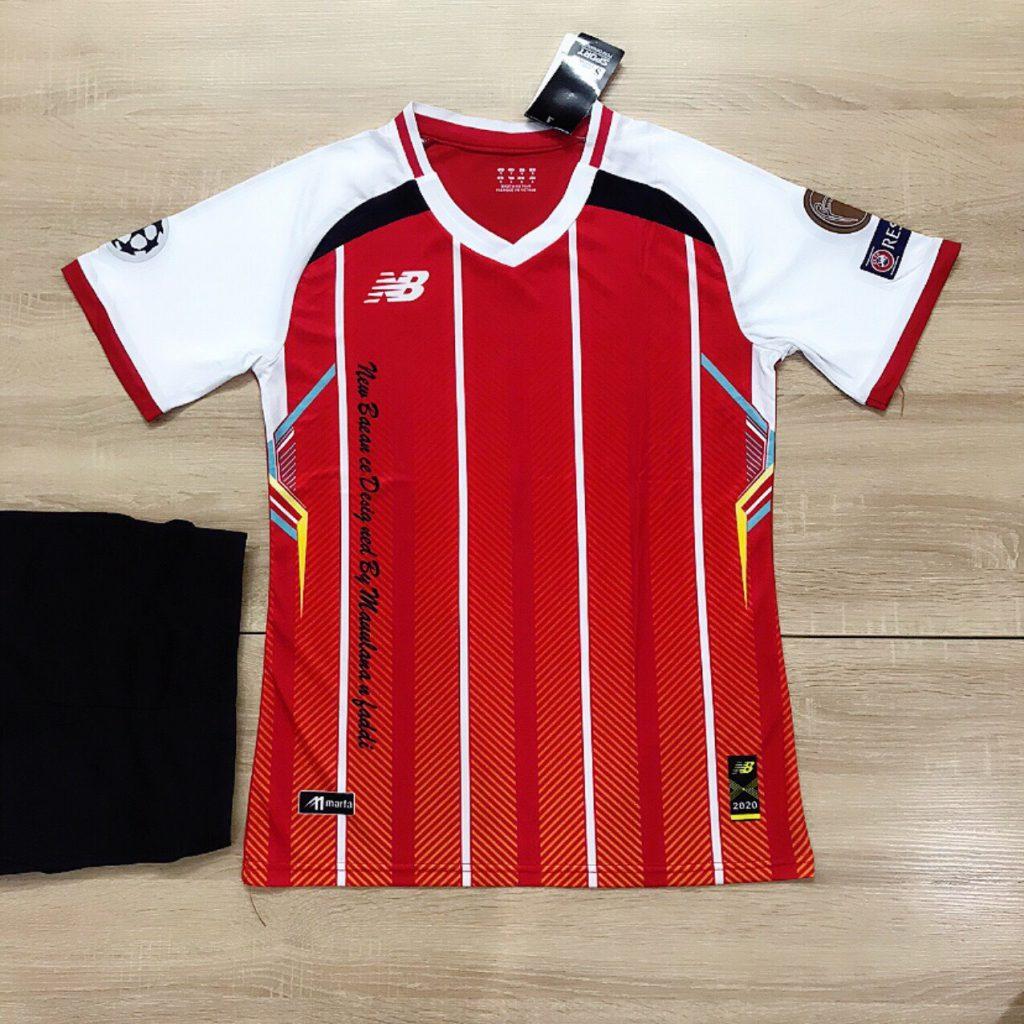 Áo bóng đá không logo NB5 màu đỏ sọc trắng mới nhất 2020