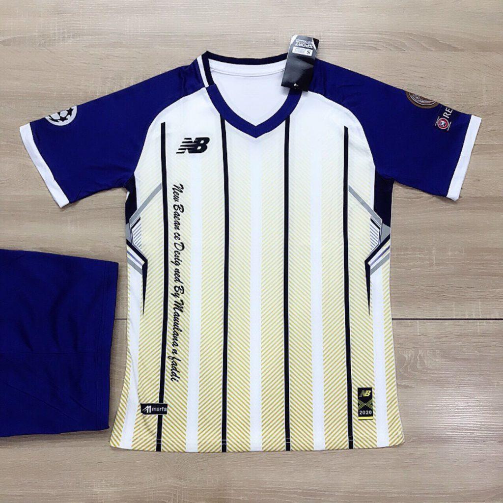Áo bóng đá không logo NB5 màu vàng trắng sọc xanh mới nhất 2020