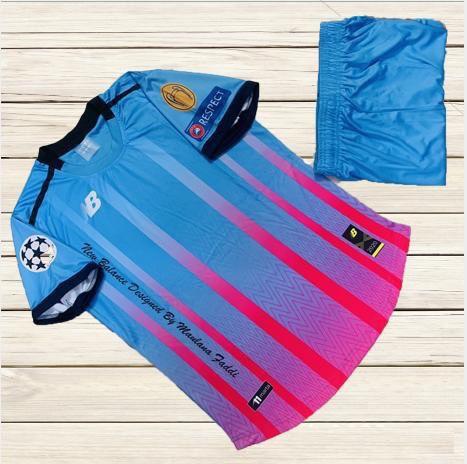 Áo bóng đá không logo NB6 màu xanh phối hồng mới nhất 2020