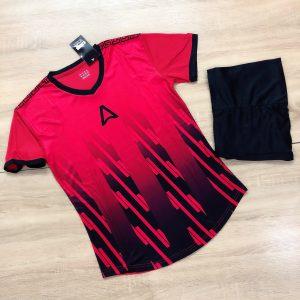 Áo bóng đá không logo Belo A1 màu đỏ phối đen mới nhất năm 2020