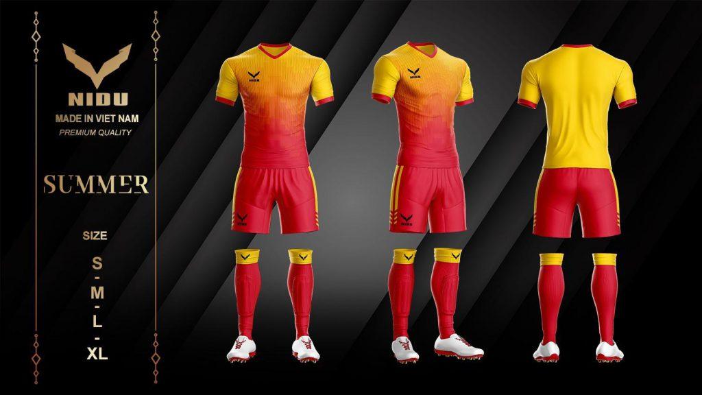 Áo bóng đá không logo NIDU 2 màu đỏ phối cam mùa hè 2020