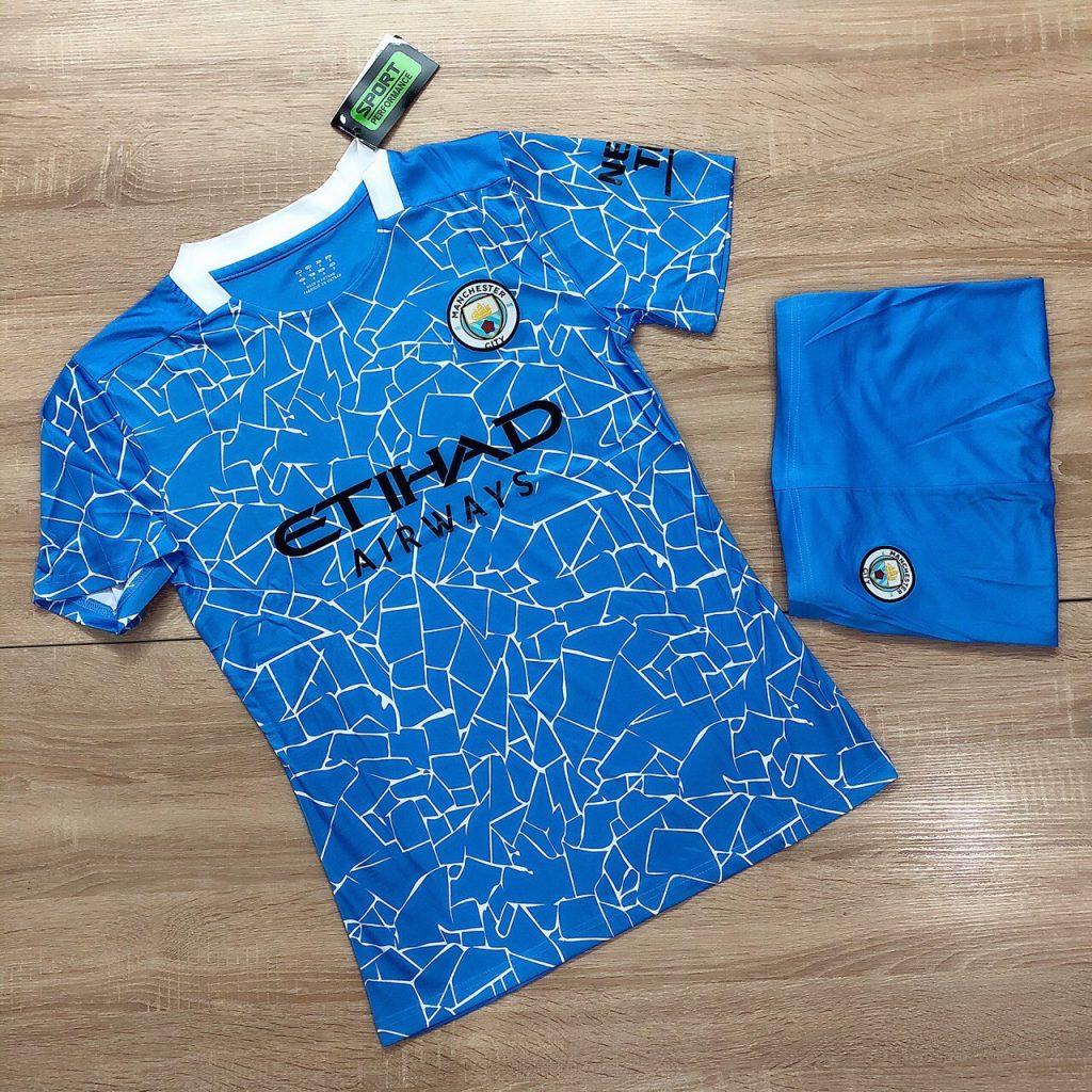 Áo bóng đá CLB Man City màu xanh da trời mới nhất mùa hè năm 2020