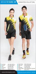 Áo cầu lông Donexpro chính hãng màu đen phối vàng xuân hè 2020