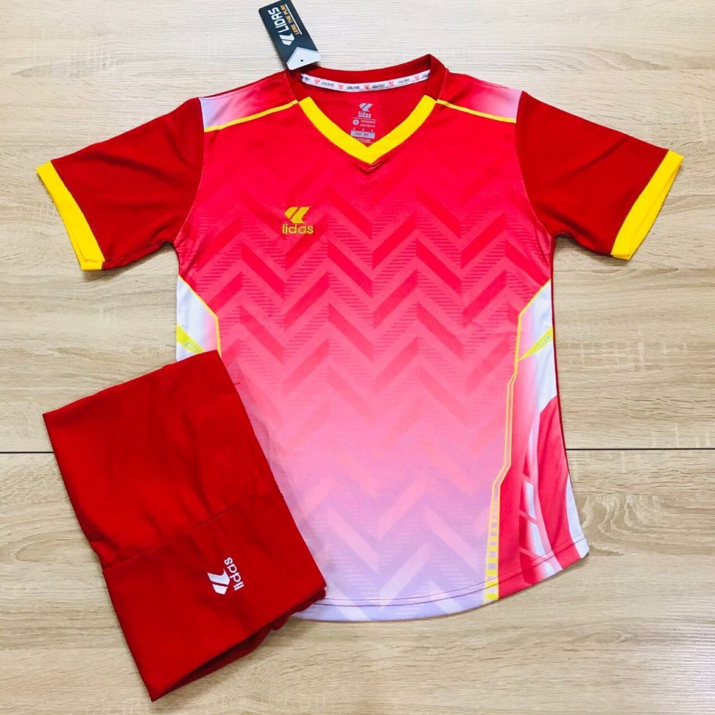 Áo bóng đá không logo Lidas L1 màu đỏ phối hồng