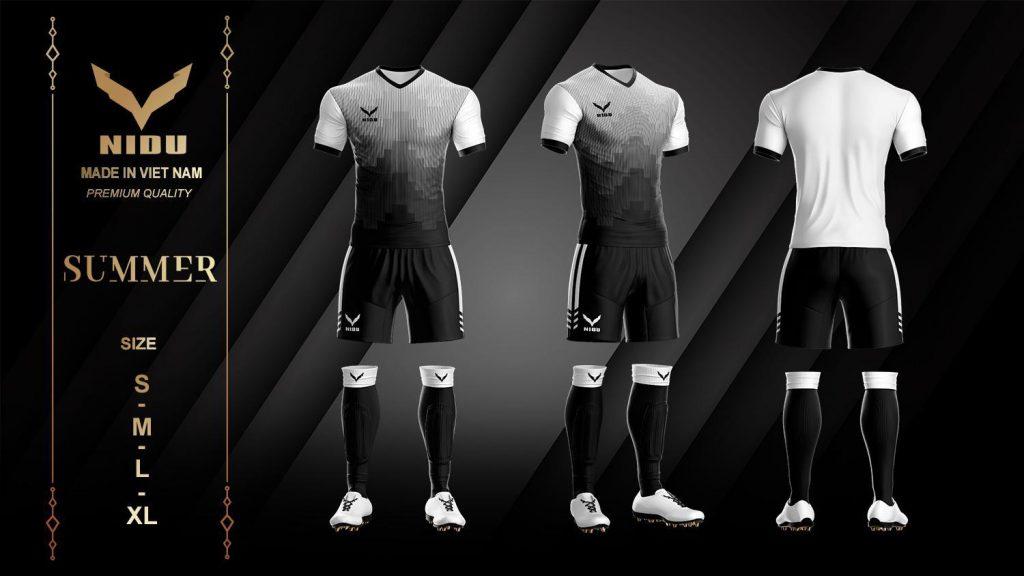 Áo bóng đá không logo NIDU 2 màu đen phối trắng mùa hè 2020