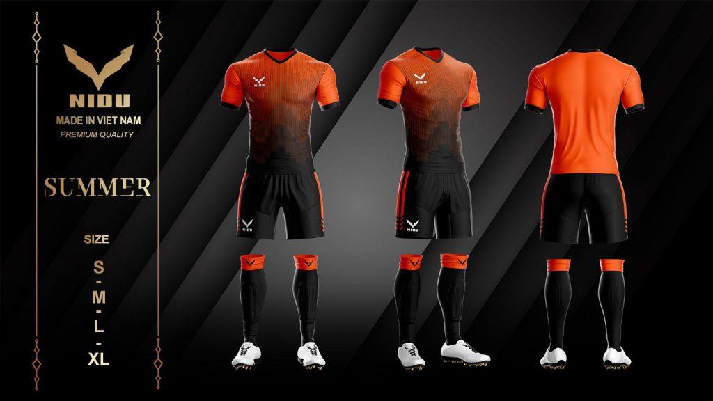 Áo bóng đá không logo NIDU 2 màu đen phối cam mùa hè 2020