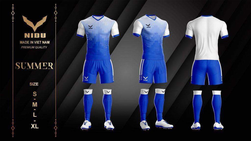 Áo bóng đá không logo NIDU 2 màu xanh phối trắng mùa hè 2020