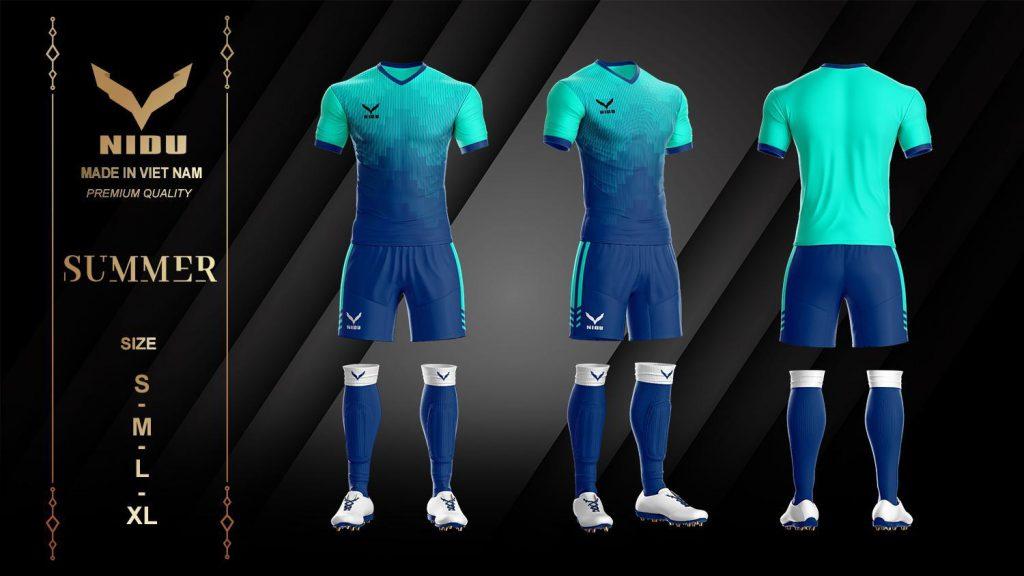 Áo bóng đá không logo NIDU 2 màu xanh phối lục mùa hè 2020