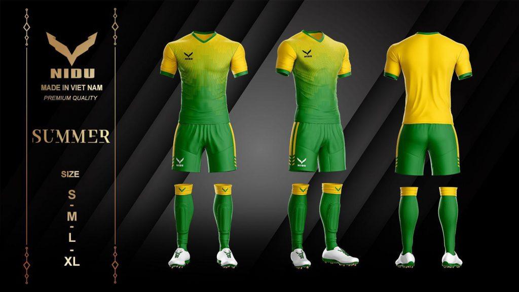 Áo bóng đá không logo NIDU 2 màu xanh phối vàng mùa hè 2020