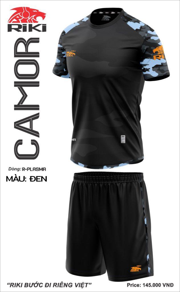 Áo bóng đá không logo Riki Camor màu đen mới nhất năm 2020