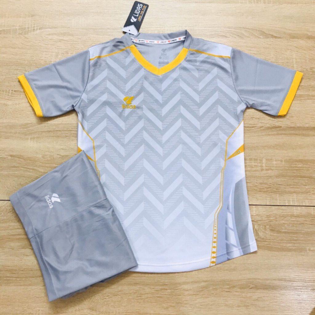Áo bóng đá không logo Lidas L1 màu xám trắng