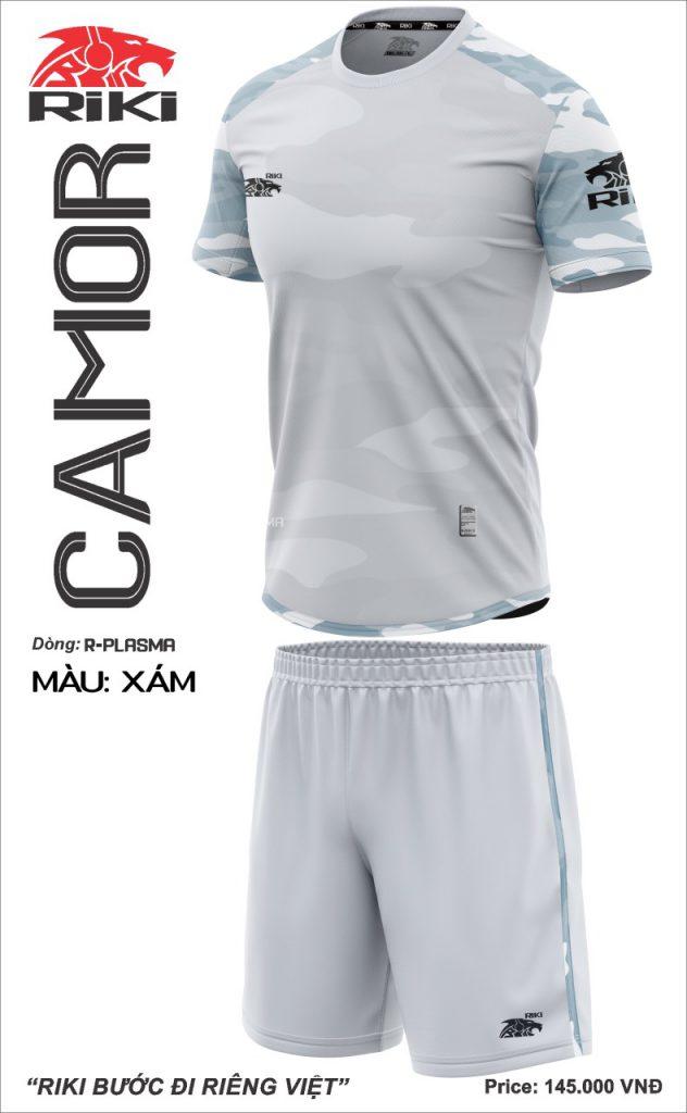 Áo bóng đá không logo Riki Camor màu xám mới nhất năm 2020