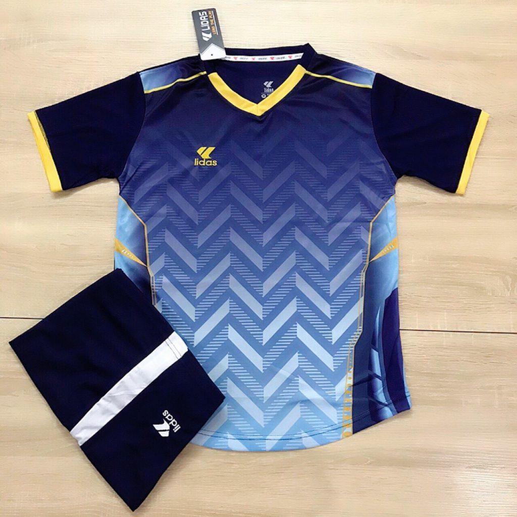 Áo bóng đá không logo Lidas L1 màu đen phối xanh