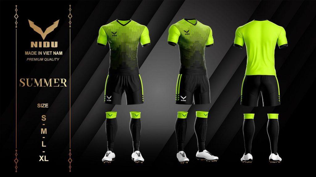 Áo bóng đá không logo NIDU 2 màu đen phối xanh lá mùa hè 2020