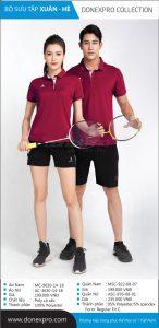 Áo cầu lông Donexpro chính hãng màu đỏ mận xuân hè 2020