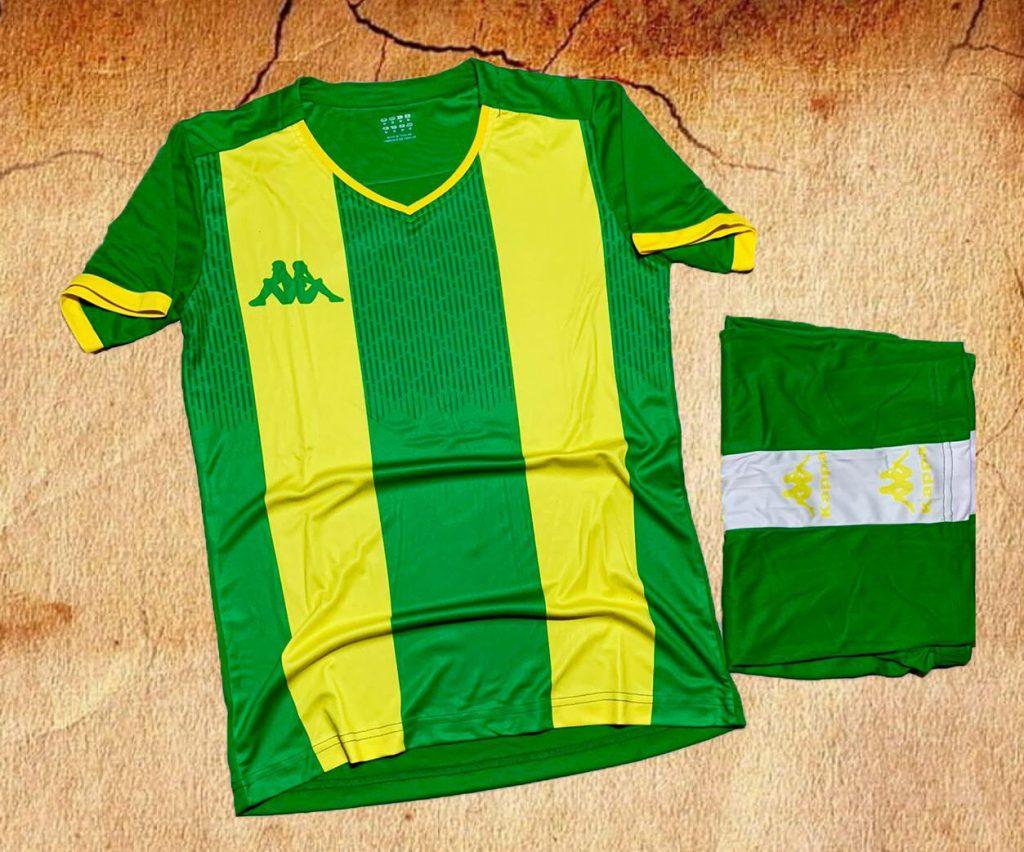 Áo bóng đá không logo Kappa K2020 màu vàng phối xanh mới nhất