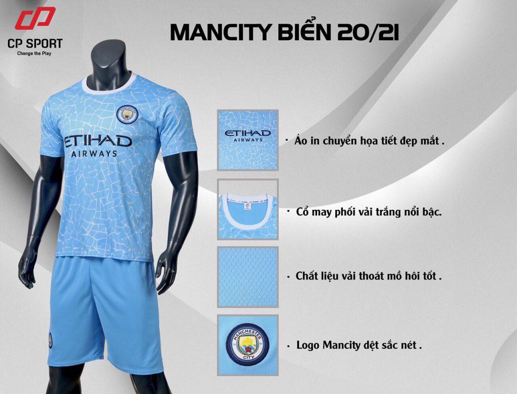 Áo bóng đá CLB Man City màu xanh da trời mùa giải 2020-2021