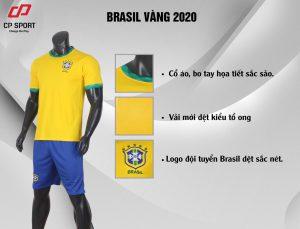 Áo bóng đá giá rẻ đội tuyển Brasil màu vàng mùa giải 2020-2021