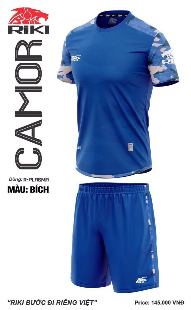 Áo bóng đá không logo Riki Camor màu xanh dương mới nhất năm 2020
