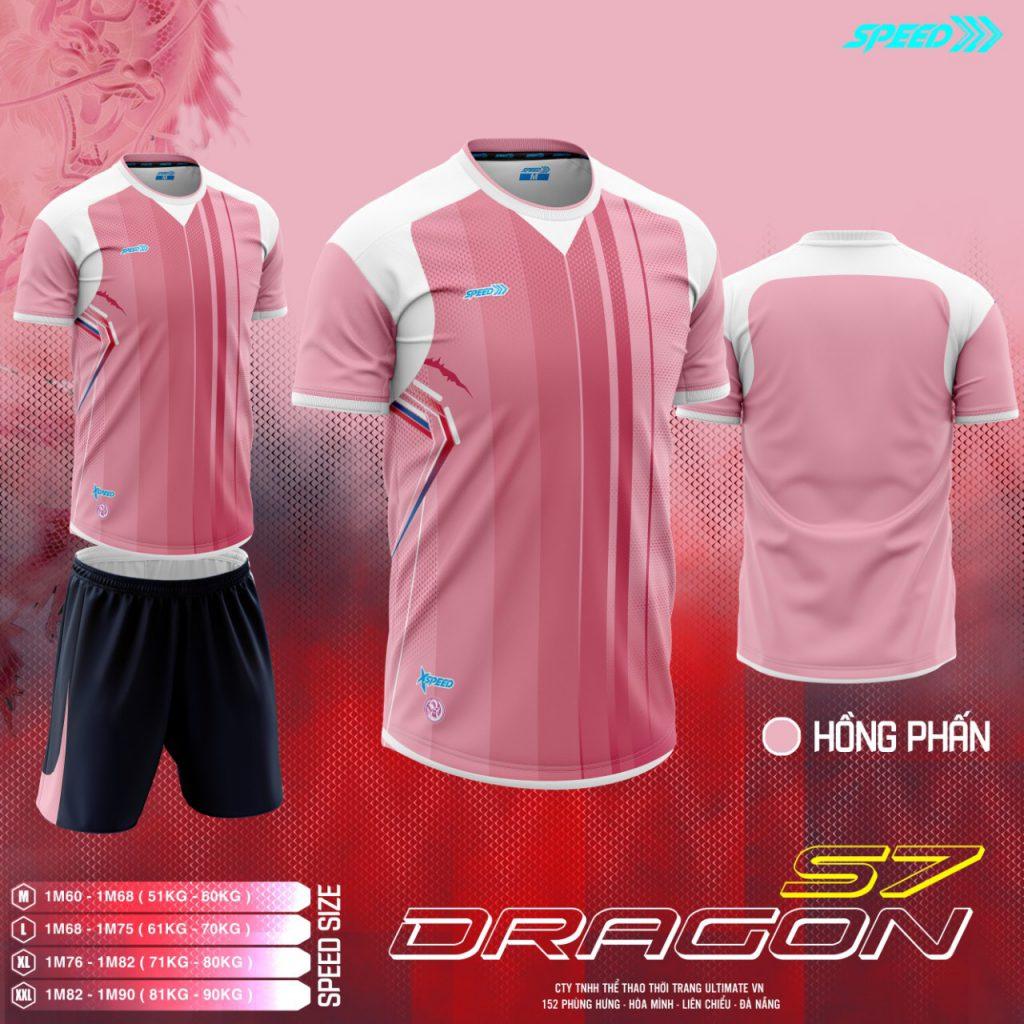 Áo bóng đá không logo Speed Dragon màu hồng mới nhất 2020